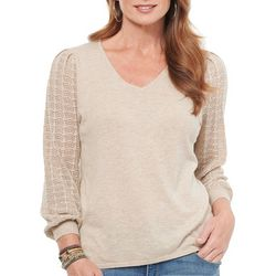 Democracy Womens Solid Heathered V-Neck Top
