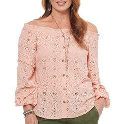 Democracy Womens Solid Eyelet Off The Shoulder Top