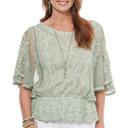 Democracy Womens Solid Lace Embellished Short Sleeve Top