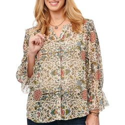 Democracy Womens Ruffle Sleeve Floral Top