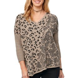 Democracy Womens Animal Lurex Jacquard Sweater