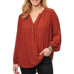 Democracy Womens Hi-Low Hem Long Sleeve Top