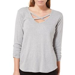 Democracy Womens Textured Striped Crisscross Top