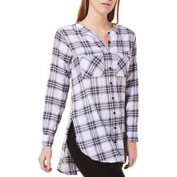 Democracy Womens Plaid Button Down High-Low Top