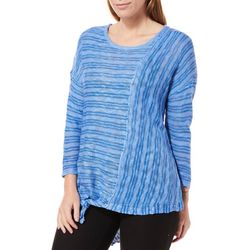 Democracy Womens Striped Tie Front High-Low Sweater