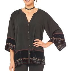 Democracy Womens Border Print Button Down Top