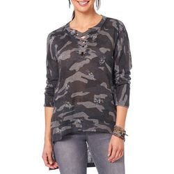 Democracy Womens Floral Camo Lace-Up Top