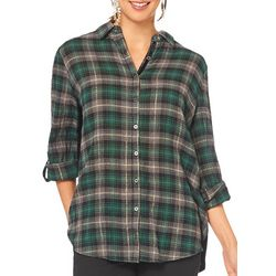 Democracy Womens Plaid Roll Tab Button Down Top