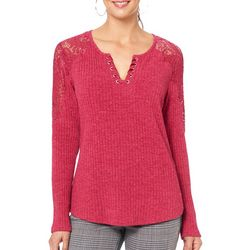 Democracy Womens Ribbed Lace Shoulder Top