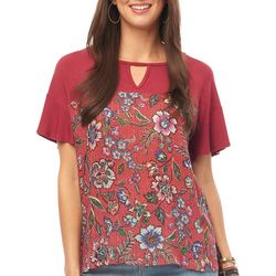 Democracy Womens Floral Tile Print Ruffle Sleeve Top