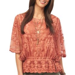 Democracy Womens Ruffle Sleeve Lace Peplum Top