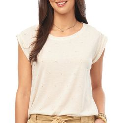 Democracy Womens Solid Stud Embellished Short Sleeve Top