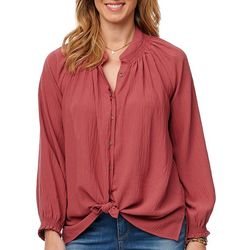 Democracy Womens Smocked Neck Long Sleeve Top