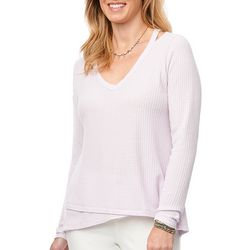 Democracy Womens Solid Textured V-Neck Long Sleeve Top