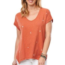 Democracy Womens Star Print V-Neck Short Sleeve Top