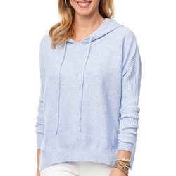 Democracy Womens Solid Textured Hooded Long Sleeve Top