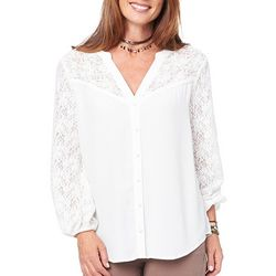 Democracy Womens Lace Button Down Top