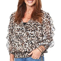 Democracy Womens Faux-Wrap Leopard Print Top