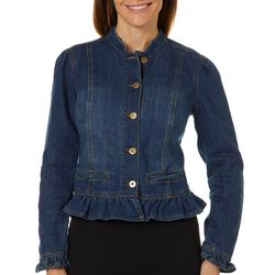 Baccini Womens Cropped Ruffled Denim Jacket