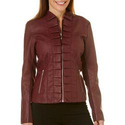 Zinntex Womens Faux Leather Ruffled Jacket