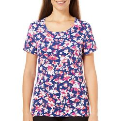 Bay Studio Womens Blueberry Floral Print Shirt