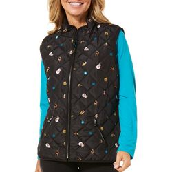 Jason Maxwell Womens Quilted Christmas Zip Up Vest