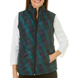Jason Maxwell Womens Quilted Plaid Zip Up Vest
