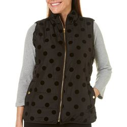 Jason Maxwell Womens Quilted Polka Dot Zip Up Vest