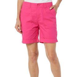 Jason Maxwell Womens Solid Roll Cuff Hem Shorts