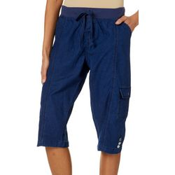 Jason Maxwell Womens Solid Chambray Skimmer Cargo Capris