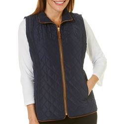 Jason Maxwell Womens Quilted Zip Up Vest