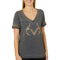 Realtree Womens Camouflage Logo V-Neck Short Sleeve Top