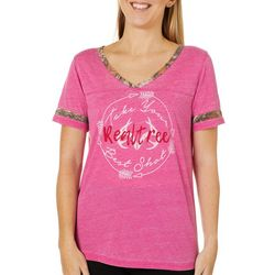 Realtree Womens Take Your Best Shot V-Neck Short Sleeve Top