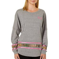 Realtree Womens Heathered Athlethic Stripe Long Sleeve Top