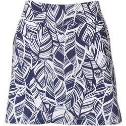 Coral Bay Golf Petite Tropical Palm Leaf Print Skort