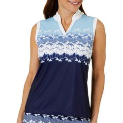 Coral Bay Golf Petites Sleeveless Martini Polo Shirt