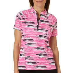 Coral Bay Golf Petite Graphic Stripe Polo Shirt