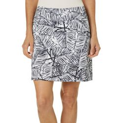 Coral Bay Golf Petite Palm Leaf Print Pull On Skort