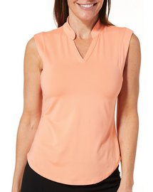 Coral Bay Golf Petite Textured Stripe Sleeveless Polo Top