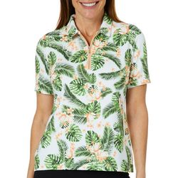 Coral Bay Golf Petite Floral Print Zip Placket Polo Shirt