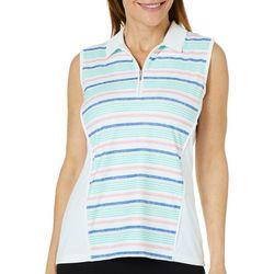 Coral Bay Golf Petite Sleeveless Striped Polo Shirt