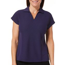 Coral Bay Golf Petite Textured Dolman Sleeve Polo Top