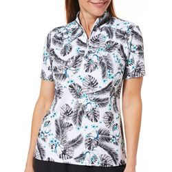 Coral Bay Golf Petite Tropical Print Short Sleeve Polo Shirt