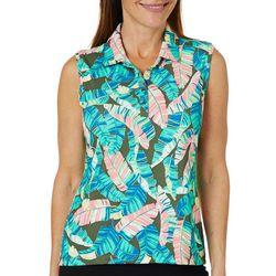 Coral Bay Golf Petite Palm Leaf Print Polo Shirt