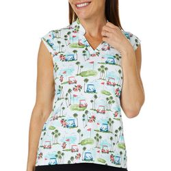Coral Bay Golf Petite Golf Cart Print Polo Shirt