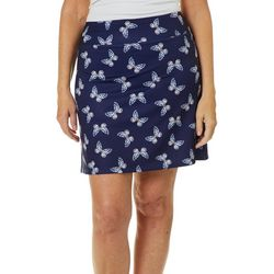 Coral Bay Golf Petite Butterfly Print Pull-On Skort