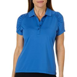 Coral Bay Golf Petite Ruched Striped Polo Shirt
