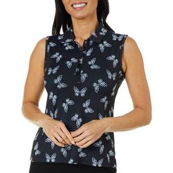 Coral Bay Golf Petite Sleeveless Butterfly Print Polo Shirt