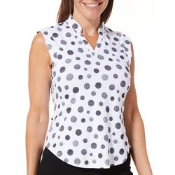 Coral Bay Golf Petite Polka Dot Print Sleeveless Polo Top