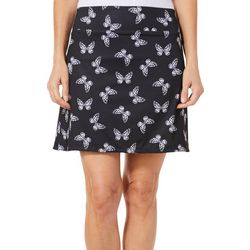 Coral Bay Golf Petite Butterfly Print Pull On Skort